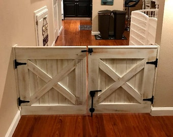 Double Door Rustic Barn Door Style Baby / Dog Gate
