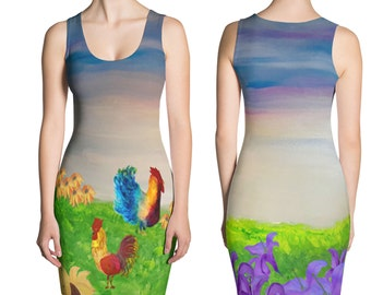 Ladies chicken field all over print dress