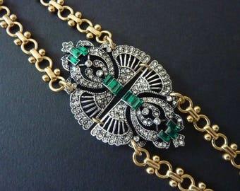 Art Deco Bracelet Jewelry Great Gatsby Bracelet Emerald Bracelet Art Nouveau Jewelry Wedding Bridal Vintage Bracelet Downton Downtown Abbey