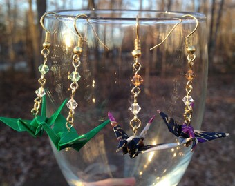 Hand-Folded Origami Crane Earrings with Swarovski Crystals, NICKEL-FREE Gold-Colored Ear Wires, Japanese