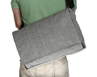Grey Cotton Laptop Messenger Bag - Cotton Messenger Bag with Adjustable Straps - Dundee Vegan Messenger
