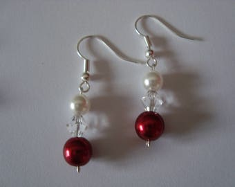 Poppy red and white earrings