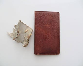 80s Tilley Oak Calf Wallet Made in England Brown Slim Checkbook Wallet Men Women Gift