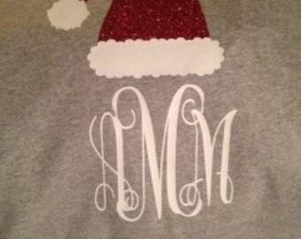 Grey Santa Hat with Monogram for Kids