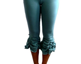 Yoga Pant Small Ruched Capri in Turquoise With Fold Over Waistband