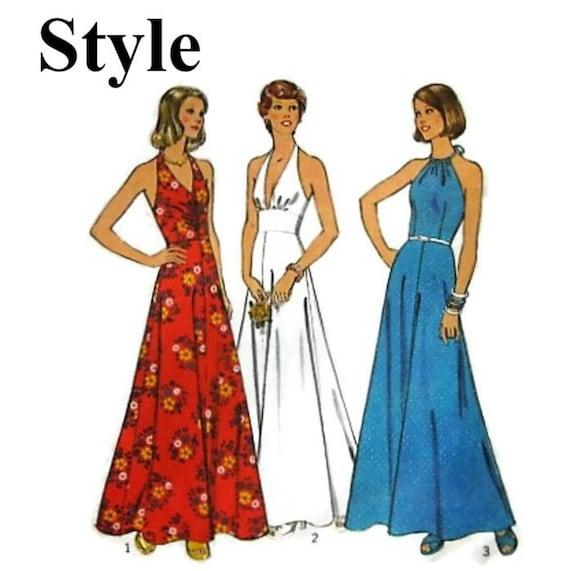 Vintage 70\'s Sewing Pattern-Halterneck Maxi Dress Pattern-Style 4689 ...