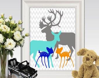 Twin nursery decor Twin nursery wall art Deer family print Baby twins prints ideas Turquoise gray orange blue printable INSTANT DOWNLOAD