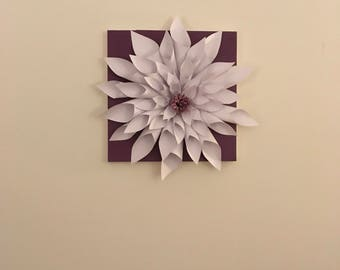 Large Paper Dahlia Flower on 12x12 Canvas