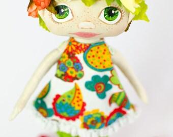 Flower-girl - by Master Yanina Kovgan - Textile Handmade doll Green Cloth doll Collectable Interior doll