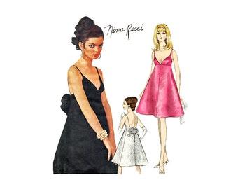 1960s Cocktail Dress Pattern Vogue 1848 Nina Ricci Empire Waist Deep V Neck Flared Skirt Size 12 Bust 32 Vogue Paris Original