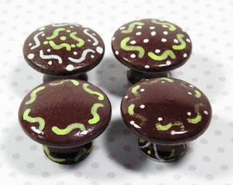 Decoupage Knobs, Chocolate Mint Squiggle Design. 4 Different Patterns to Cute Up Kitchen Cabinet/Pantry Doors, Dresser or Furniture Drawers