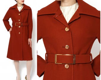 Vintage 1970s Burnt Orange/Rusty Red Belted Wool A-Line Trench Coat by Gump's San Francisco   Small/Medium