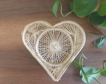 Heart Shaped Basket, Boho Basket