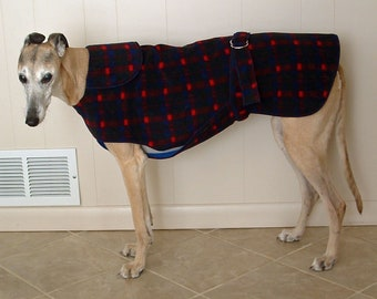 W24 Blue Red Plaid  Greyhound Winter Coat.  Free Shipping!