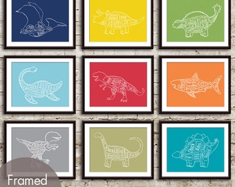 Dinosaur Butcher Art Collection - Set of 9 - Art Print (Featured in Assorted Colors) (Customizable Colors)