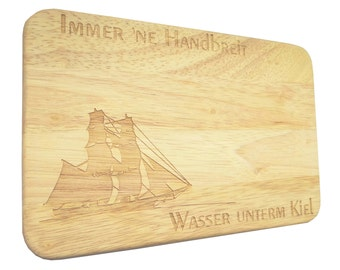 Brotbrett Breakfast Board brig sailing ship Engraving-Breakfast board-engraving-sailing ship-text of your choice
