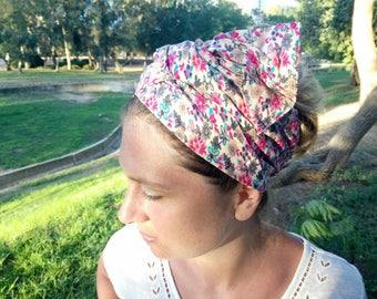 Pink crush head Wrap,Wide Head scarf,gift idea,tichel,women's wide headwrap, Scarf,Headband, Hair scarf,blossom flowers head wrap