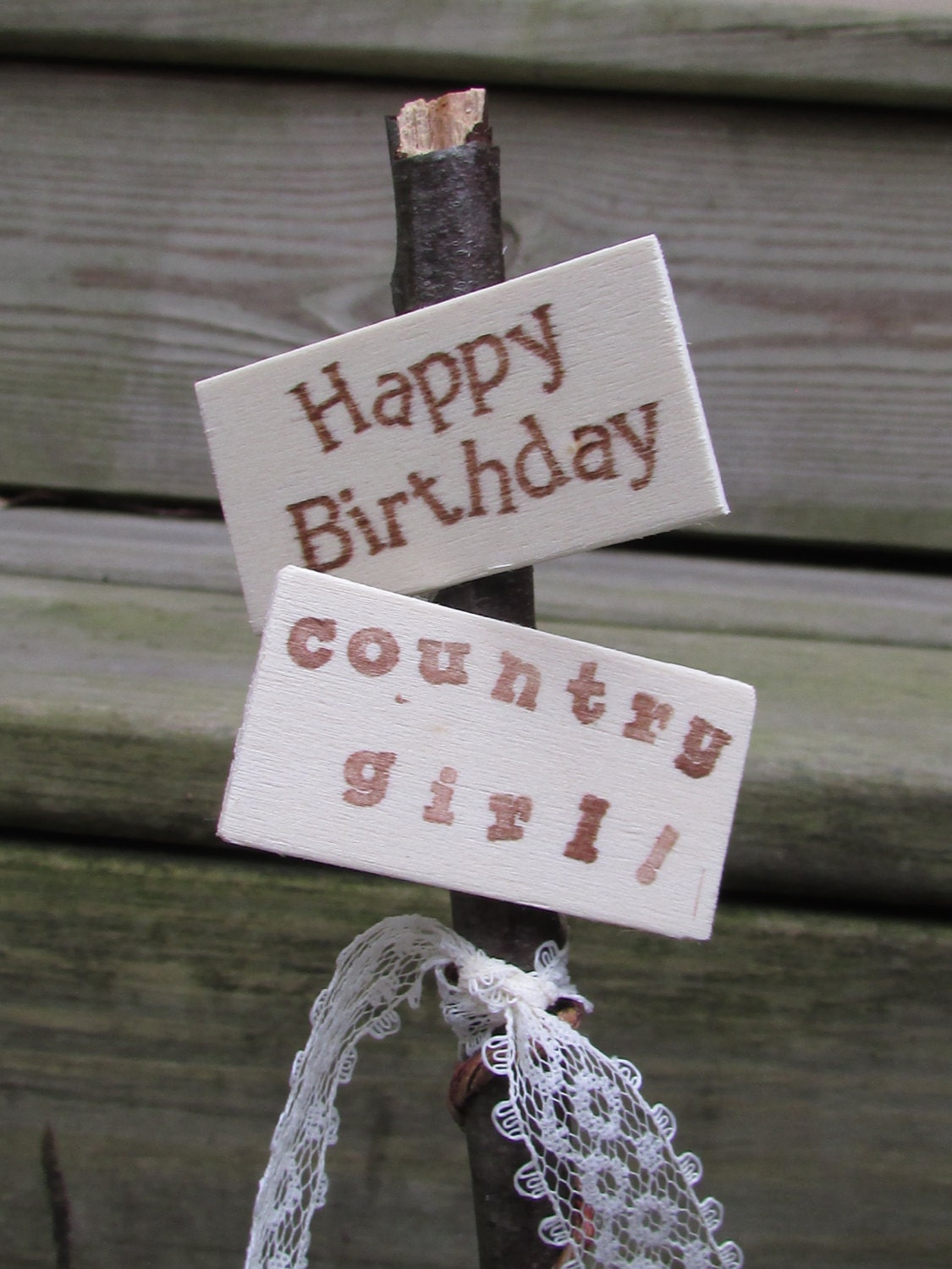 Happy Birthday Country Girl Cake Topper