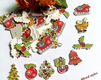 """15  Assorted Christmas Wood Buttons for Sweaters, Knitting, Sewing, Button Crafts, Scrapbooking ; 1 1/4"""" x 3/4"""" Button Crafts Scrapbook"""