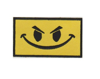 Angry Smiley Face  Morale Patch  Embroidered Patch with VELCRO® Brand Fastener Available