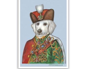 Kuvasz Art Print - the King - Royal Dog Art, Pet Prints - Dog Art - Hungarian Dogs - Pet Portraits by Maria Pishvanova