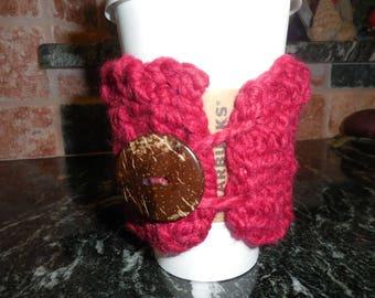 Chunky Coffee Hug...Buttoned....Cozy Hug...Coffee Sleeve..Jubejubeknits...Mug Hug...Chunky Knits.