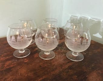 Set of Six Small Etched Brandy Snifters
