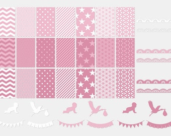 004 BABY PINK digital paper pack for scrapbooking, albums, cards and crafts, special for baby shower