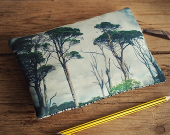 Pine tree purse with zip, zipper purse, cosmetics bag, wallet, phone case