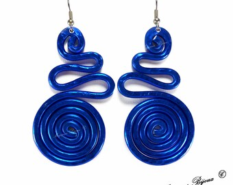 Blue Snake earrings spiral tribal etruscan celtic ethnical Zen Aztec pink Purple Red Wrapped
