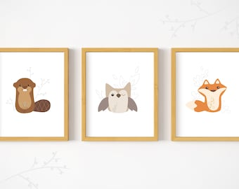 Set of 3 Printable Woodland Animals wall art print woodland animal nursery decor PDF download fox owl beaver