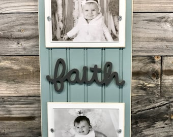 Faith distressed picture frame holds 2-4x6 photos/bluish grey