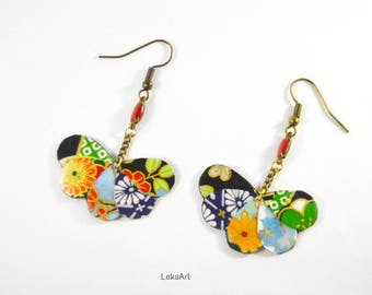 Set of Japanese paper Princess Kurodo クラウド earrings. Forest