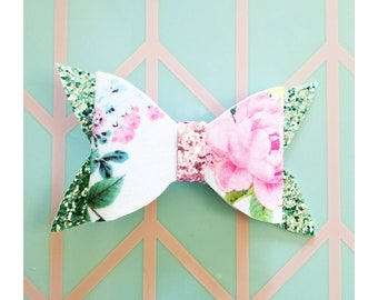 Spring Floral and Sparkle bow