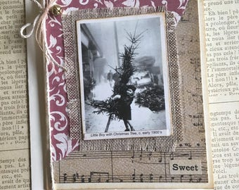 NEW Handmade Christmas Card with Vintage Photo Young Boy Holding Big Tree