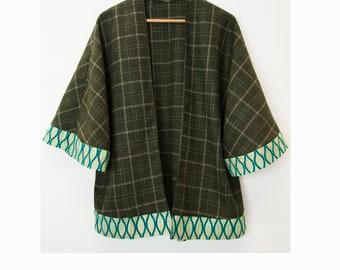 Wool Cape - Winter Kimono Jacket - Wool Jacket - Cape - African print Trims - tweed cape - green
