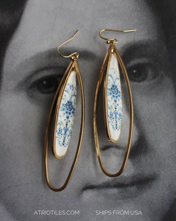 Hoop Earrings Portugal Tile Double  Blue Portuguese from Viuva Lamego Factory, Lisbon - Founded in 1849 Delft Porcelain  Ships from USA