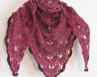 pink and purple shawl,  wool shawl,  crochet lace, merino wool, triangle shawl,
