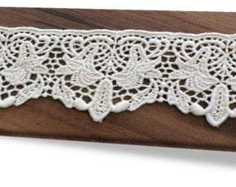 100% Organic Cotton Lace, Natural, Undyed, Sold by the Yard, 55mm
