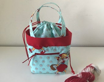 Red Riding Hood Project Bag, small knitting bag, sock knitting bag, Crochet bag, yarn bag, drawstring bag, sock project bag