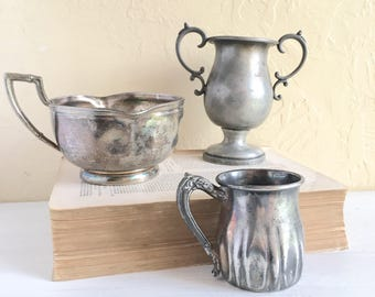 Antique Silver Plate Collection Lot of 3 Cups Dishes All Silver Plated Middletown Manhattan Silver Co Hand Forged Storage