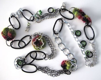 "Fiberpunk™ Necklace - Emerald Green, Burgundy and Black Glitz - Flower -  Extra Long 25"" / Fiber Jewelry / Crochet Jewelry / Tatted Jewelry"