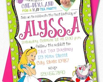 ONE-derland Themed Invitiation - Alice in Wonderland Inspired