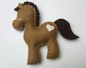 Wool felt pony decoration for babyroom - horse ornament for Christmas Housewarming home decor Baby shower ideas for her for him