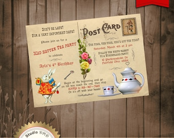 Alice in Wonderland Mad Hatter Tea Party Invitation - Vintage Post Card - for Birthday, Baby Shower, Bridal shower Tea Party - Printable DIY