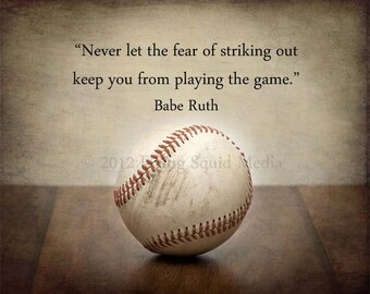 "Baseball Decor: Gallery Wrapped Canvas ""Never let the fear of striking out...""  - Baseball art"