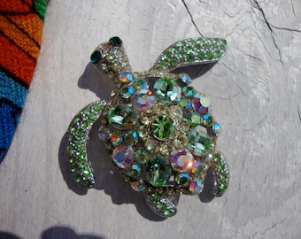 Vintage Green Rhinestone Sea Turtle Pin Brooch Crystal Jewelry Animal Nature Wildlife Pet Sparkle Glamorous Scarf Shawl Lapel Hat Accent Pin