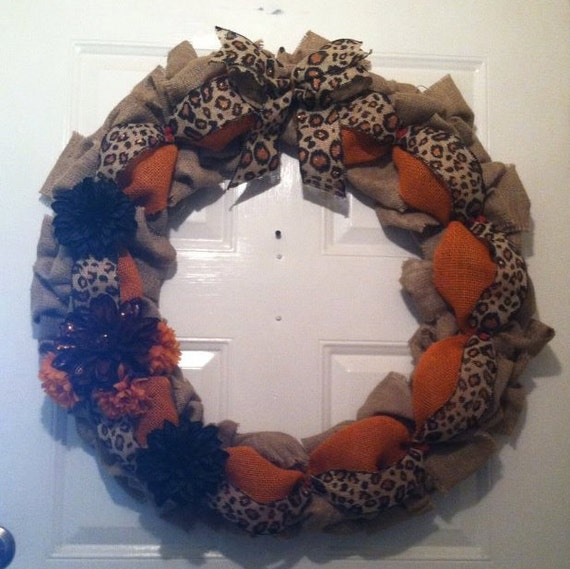 Safari Burlap Wreath - Leopard Wreath - African Burlap Wreath - Burlap Wreath - Front Door Wreath- Cheetah Burlap Wreath - Tribal Home Decor