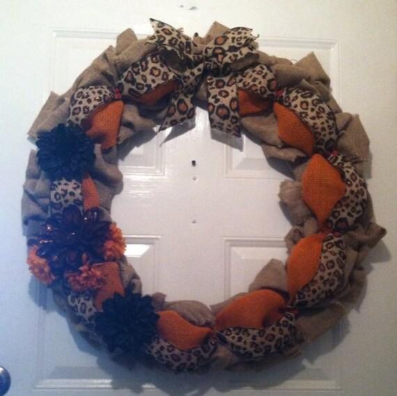 Safari Burlap Wreath - Leopard Wreath - African Burlap Wreath - Bu2026urlap Wreath - Front Door Wreath- Cheetah Burlap Wreath - Tribal Home Decor & Front Door Wreath - Tuscany Wreath - Summer Wreath - Everyday Wreath ...