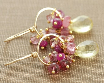 Pink Yellow Gold Gemstone Hoop Earrings, Lemon Quartz Pink Sapphire Tourmaline, Handmade Earrings
